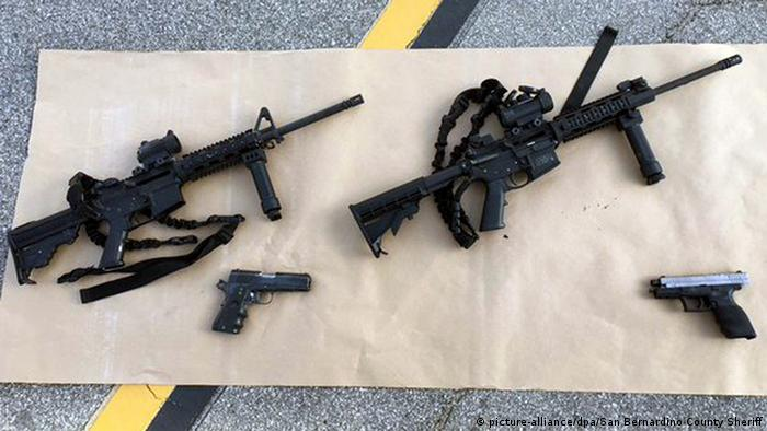 The two military-style assault rifles and two pistols used in the San Barnardino, California shooting