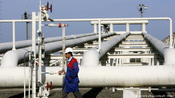 A technician walks past the Blau Stream pipeline