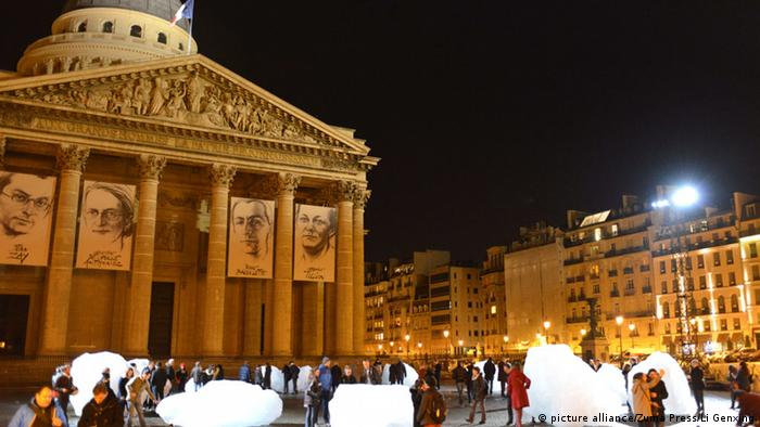 Blocks of ice in front of the Pantheon in Paris