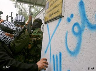 Closed until apology, reads the graffiti on the wall of the EU headquarters in Gaza City