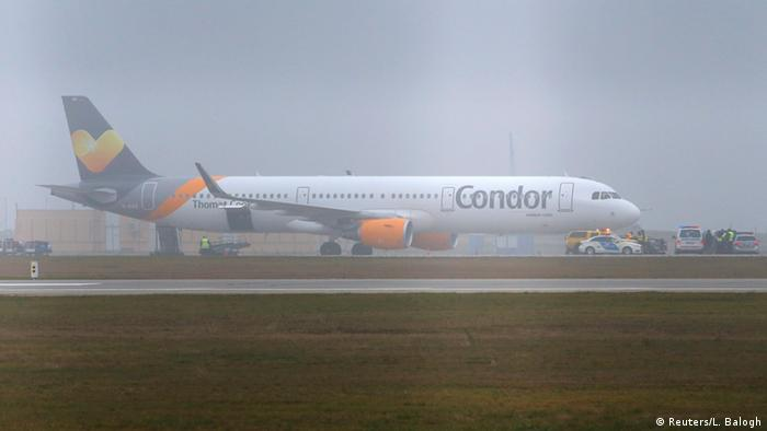 A Condor airlines Airbus A321 stands on the tarmac at theBudapest Airport.