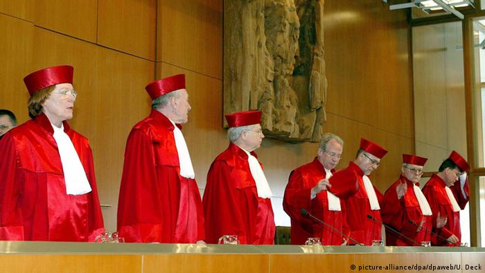 Germany's highest court is the Constitutional Court. the justices are pictured here.