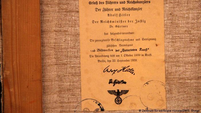 Deutschland Solingen Zentrum für verfolgte Künste Beschlagnahme Urkunde