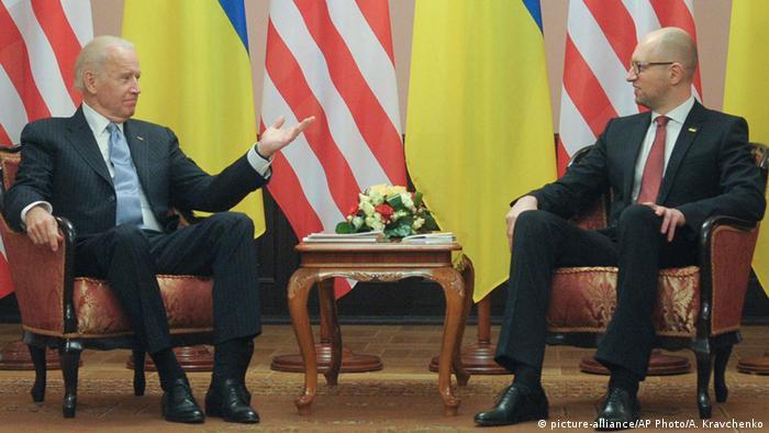 Вице-президент США Джо Байден и премьер-министр Украины Арсений Яценюк