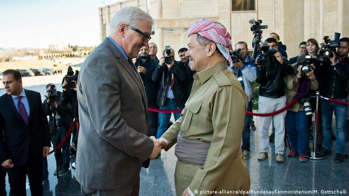 German Foreign Minister Frank-Walter Steinmeier meets with Massud Barsani