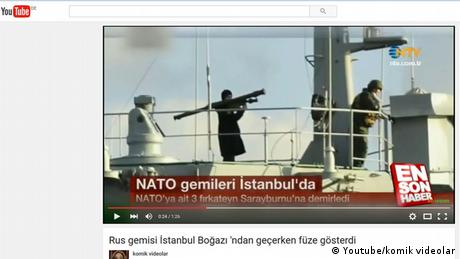 Screenshot YouToube-Video, russisches Schiff im Bosporus