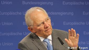 Germany's Finance Minister Wolfgang Schäuble at the December's EU finance minister's meeting in Brussels