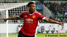Football Soccer - VfL Wolfsburg v Manchester United - UEFA Champions League Group Stage - Group B - Volkswagen-Arena, Wolfsburg, Germany - 8/12/15 Anthony Martial celebrates after scoring the first goal for Manchester United Action Images via Reuters / Carl Recine Livepic EDITORIAL USE ONLY.