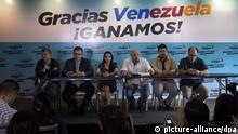 (L-R) Venezuelan elected legislators Henry Ramos Allup, Enrique Marquez, Delsa Solorzano and Executive Secretary of coallition Mesa de la Unidad Democratica (MUD) Jesus Torrealba (C) next to lawyer of Venezuelan opposition leader imprisoned Leopoldo Lopez, Roberto Marrero and Julio Borges speak during a press conference in Caracas, Venezuela, 08 December 2015. MUD insist that opposition won 112 chairs in the National Assembly in the last 06 December elections, that represents two thirds of the total of legislators in the institution. According to the Venezuelan electoral council the opposition has won 107 seats, with 5 yet to be determined. EFE/Miguel Gutierrez