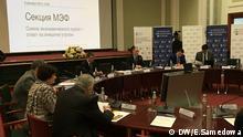 Moskau Russland Teilnehmer Konferenz Militarisierung der russischen Wirtschaft