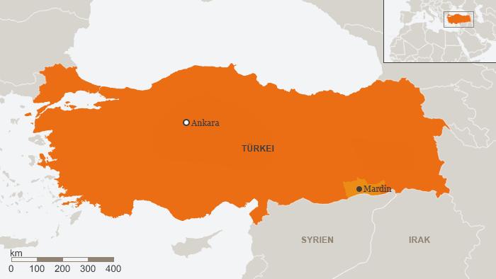 Karte Türkei mit Stadt Mardin Deutsch