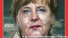 9.12.2015 In this image provided by Time Magazine, Wednesday, Dec. 9, 2015, German Chancellor Angela Merkel is featured as Time's Person of the Year. The magazine praises her leadership on everything from Syrian refugees to the Greek debt crisis. (Time Magazine via AP) picture-alliance/AP Photo/Time Magazine