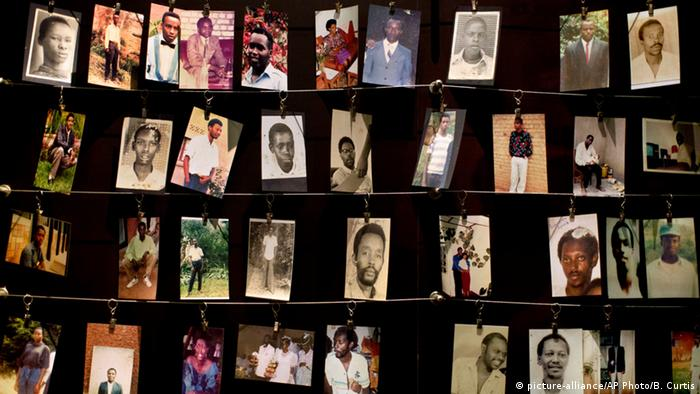 Family photographs of some of those who died hang in a display in the Kigali Genocide Memorial Centre in Kigali, Rwanda