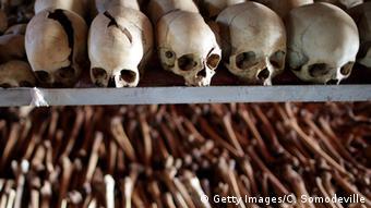 Exhumed bones from Rwandan genocide