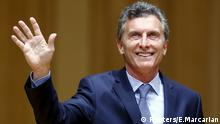 Argentina's President-elect Mauricio Macri acknowledges the audience as he attends the inauguration of incoming Buenos Aires' City Mayor Horacio Rodriguez Larreta (not seen) in Buenos Aires December 9, 2015. Macri's victory in a run-off last month turned Argentine politics on its head, ending 12 years of leftist populism under outgoing President Cristina Fernandez de Kirchner and her late husband and predecessor, Nestor Kirchner. Macri promises to remove state controls on the ailing economy and conduct more orthodox policies.REUTERS/Enrique Marcarian Reuters/E.Marcarian
