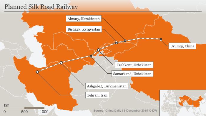 Infografik Geplante Seidenstraßen-Zugverbindung Asien Englisch