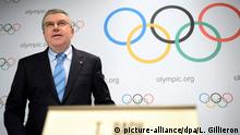 10.12.2015 *** epa05063555 International Olympic Committee (IOC) president, German Thomas Bach speaks during a press conference after the executive board meeting of the IOC at the IOC headquarters in Lausanne, Switzerland, 10 December 2015. EPA/LAURENT GILLIERON +++(c) dpa - Bildfunk+++