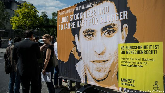 A demonstration in Berlin in support of Saudi blogger Raif Badawi