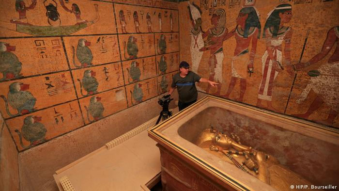 A researcher scanning Tutankhanum's tomb