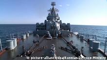 Russischer Cruiser Moskva vor syrischer Küste