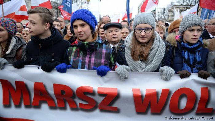 The President of Law and Justice party (PiS) Jaroslaw Kaczynski (C) during the 5th March of Freedom and Solidarity, through the streets of Warsaw in December