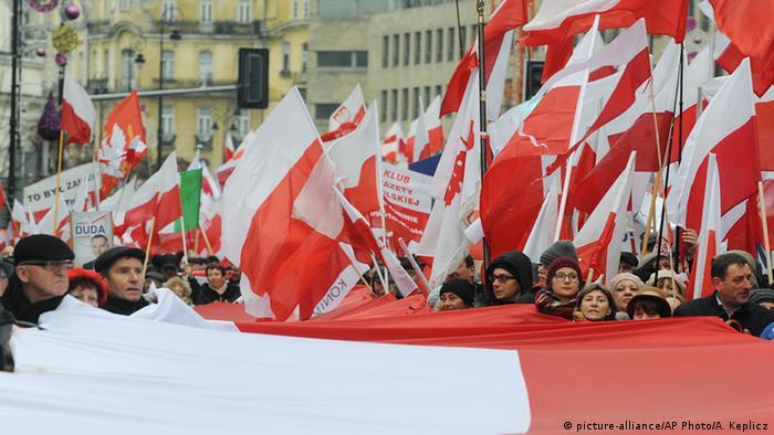 Демонстрация сторонников нового правительства в Польше