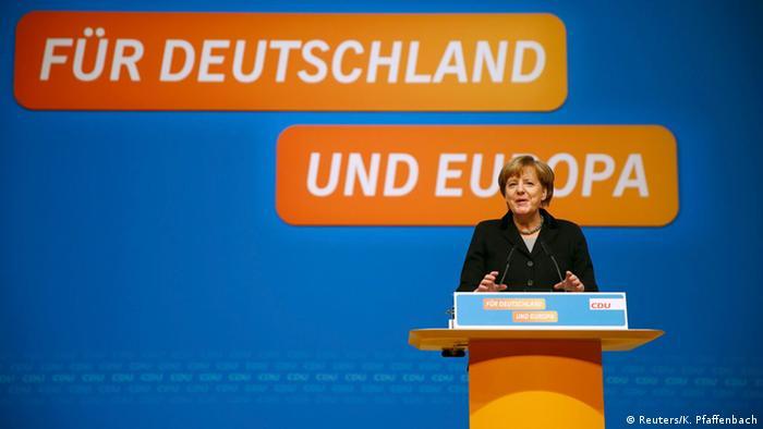 Ангела Меркель выступает на съезде ХДС 14 декабря