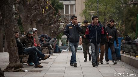 Asylum-seekers on Athens' Victoria Square