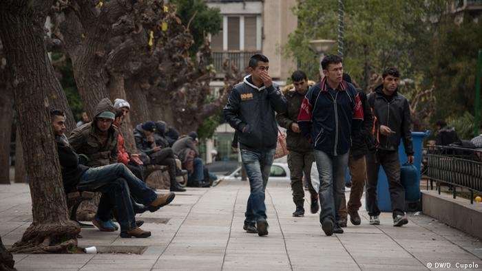 Asylum-seekers on Athens' Victoria Square