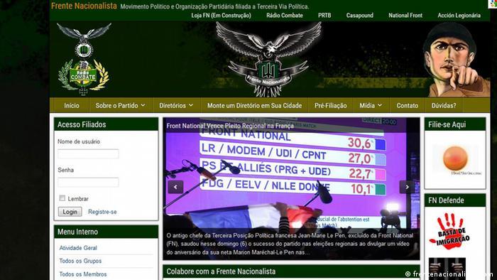 Site da Frente Nacionalista demonstra apoio à Front National francesa e defende, entre outros, o fim da imigração