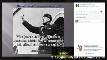 Screenshot Facebook Frente Nacionalista Brasilien