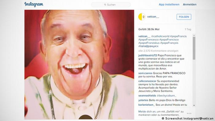Screenshot Papst Franziskus Fake Selfie bei Instagram