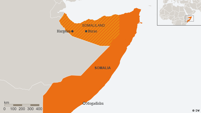Map showing location of Somaliland (DW)