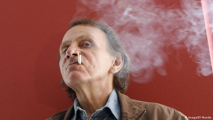 Portrait of French writer Michel Houellebecq with a cigarette in his mouth