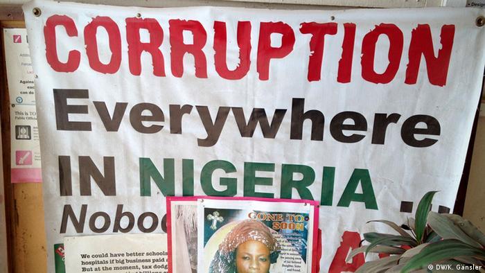 Nigeria Plakate und Aufkleber gegen Korruption