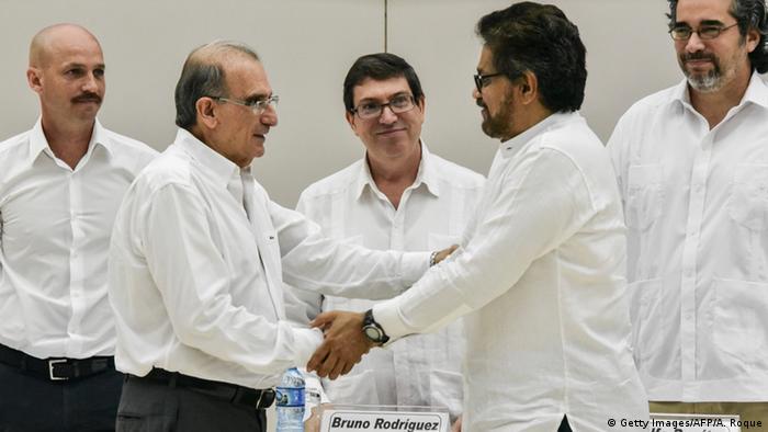 Kuba Verhandlungen FARC Kolumbien - Humberto de la Calle & Ivan Marquez