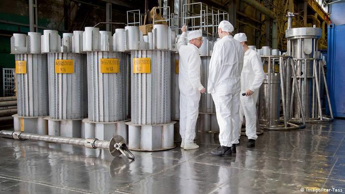 Reservatórios para o transporte de urânio na central nuclear Majak, na Rússia.