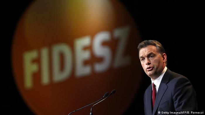 Orban gives a speech in Budapest in 2010