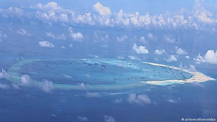 An artificial Chinese Island in the South China Sea.