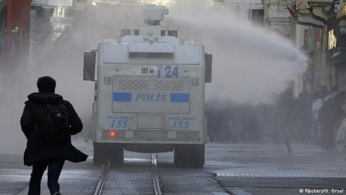 Police use water cannon and teargas to break-up a pro-Kurdish Demonstration in Istanbul earlier this month.