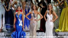 LAS VEGAS - DECEMBER 20: The top three finalists (L-R) Miss Philippines 2015, Pia Alonzo Wurtzbach, Miss Colombia 2015, Ariadna Gutierrez,, and Miss USA 2015, Olivia Jordan stand onstage during the 2015 Miss Universe Pageant at The Axis at Planet Hollywood Resort & Casino on December 20, 2015 in Las Vegas, Nevada. Pia Alonzo Wurtzbach (R) went on to be crowned the new Miss Universe.(Photo by Frank Micelotta/PictureGroup) +++ (C) picture alliance/PictureGroup/F. Micelotta