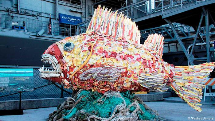 A fish made of reclaimed plastic