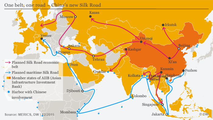 New Silk Road And Chinas Hegemonic Ambitions Asia DW - Us new silk road map