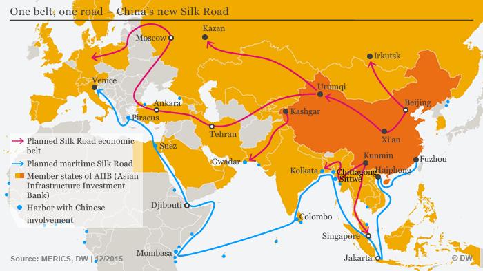 Infografik Chinas neue Seidenstraße Englisch