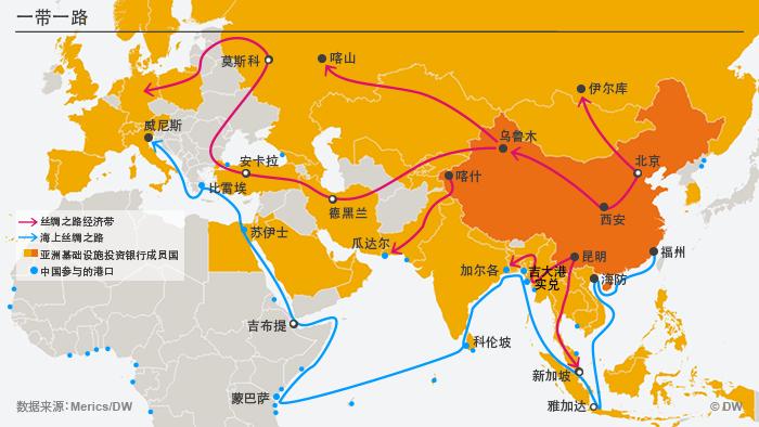 Infografik Chinas neue Seidenstraße Chinesisch