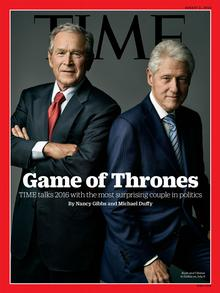Time Magazine Cover mit Bill Clinton und George W. Bush