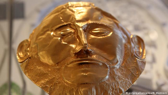 Golden death mask of Agamemnon (Foto: picture-alliance/dpa/B. Wüstneck).