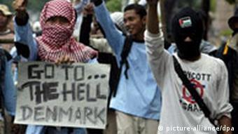 Indonesian Muslim protestors during an anti-Denmark rally in front of the Danish embassy in Jakarta