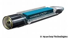 Hyperloop Kalifornien. Der Hyperloop ist ein Konzept für ein Hochgeschwindigkeitstransportsystem, das elektrisch getriebene Transportkapseln mit Reisegeschwindigkeiten von bis zu 1.225 km/h auf Luftkissen durch eine teilevakuierte Röhre befördern soll. Copyright: Hyperloop Technologies Pressebild