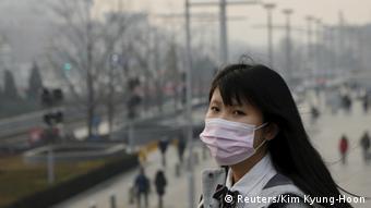 China Peking Smog Mundschutz Frau